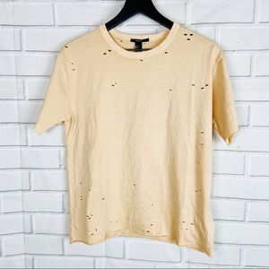 Forever 21 distressed holes casual t-shirt peach S